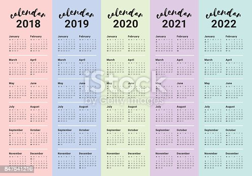 Year 2018 2019 2020 2021 2022 Calendar Vector Stock Vector ...