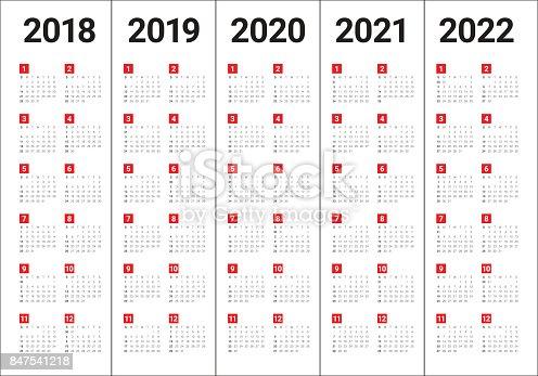 Year 2018 2019 2020 2021 2022 Calendar Vector Stock Vector ...