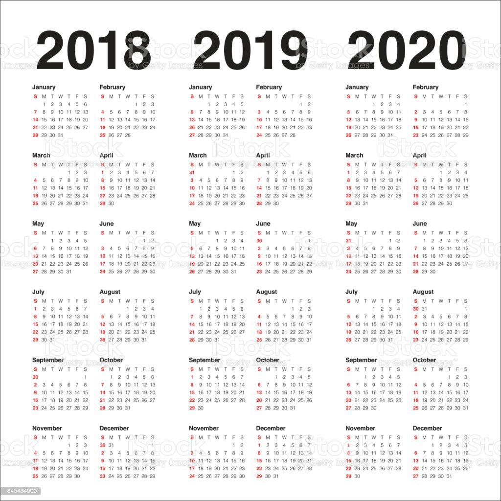 year 2018 2019 2020 calendar vector royalty free year 2018 2019 2020 calendar vector stock