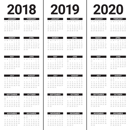 Year 2018 2019 2020 Calendar Vector Stock Vector Art ...