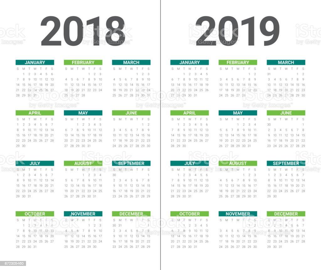 Year 2018 2019 calendar vector design template, vector art illustration