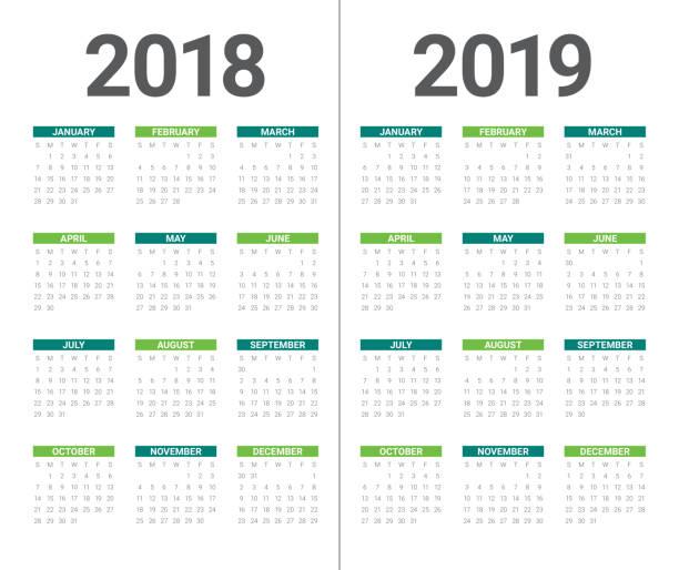 stockillustraties, clipart, cartoons en iconen met jaar 2018 2019 agenda vector ontwerpsjabloon is opgeslagen, - 2018