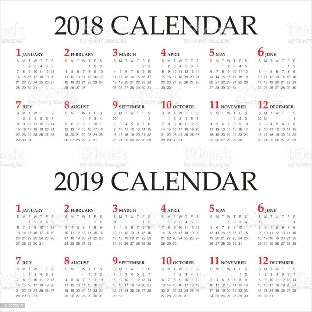 year 2018 2019 calendar vector stock vector art more images of 2018 846275612 istock