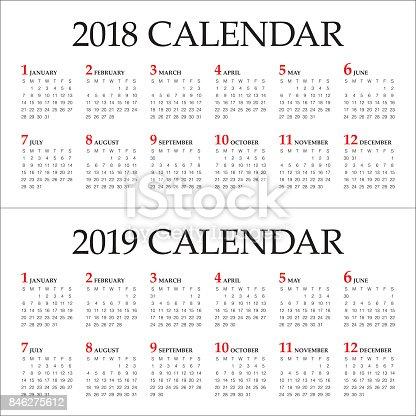 Year 2018 2019 Calendar Vector Stock Vector Art & More ...