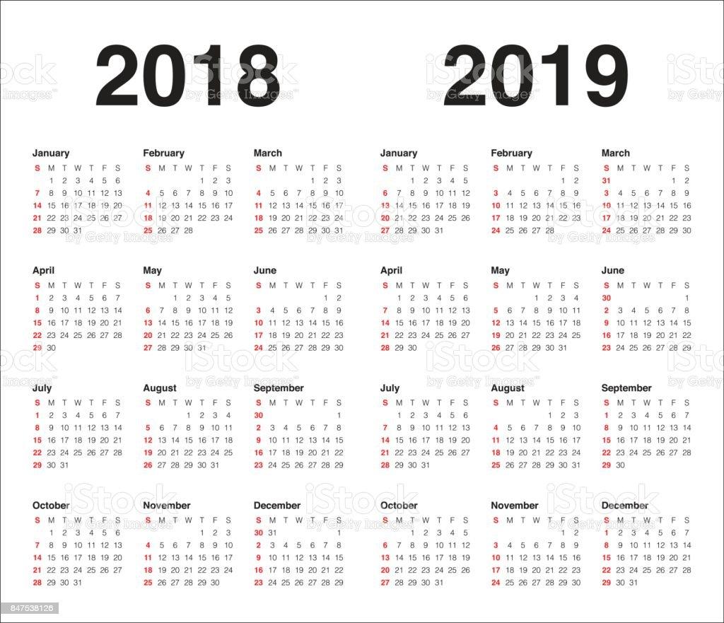 year 2018 2019 calendar vector stock illustration download image now istock. Black Bedroom Furniture Sets. Home Design Ideas