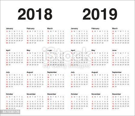Year 2018 2019 Calendar Vector Stock Vector Art  U0026 More