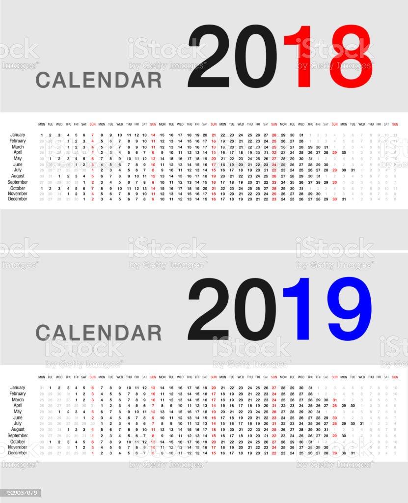 Calendario Financiero 2019.Ilustracion De Ano 2018 Y 2019 Ano Calendario Vector