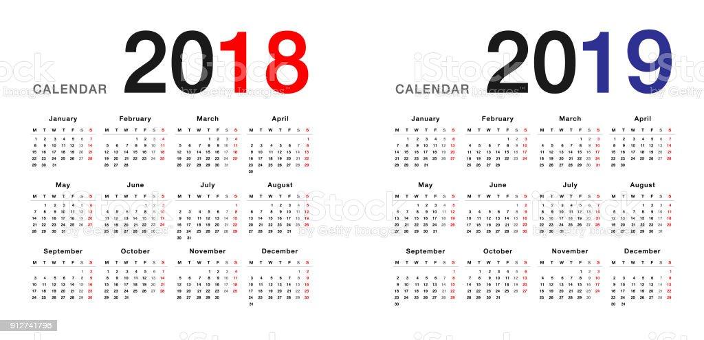 Year 2018 and Year 2019 calendar vector design template vector art illustration