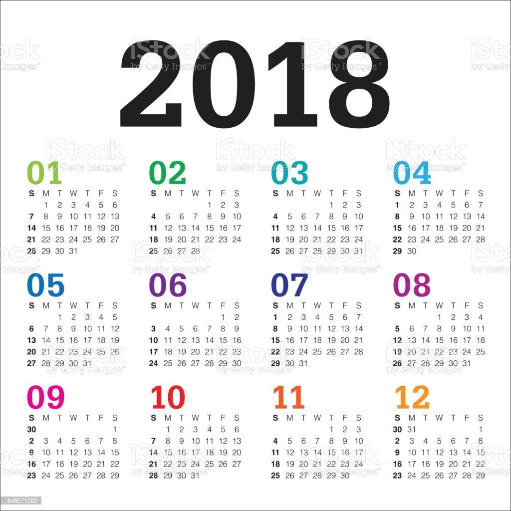 Plantilla De Diseño De Vector De Calendario De Año 2018 - Arte ...