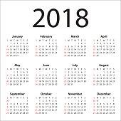 year 2018 calendar vector design template