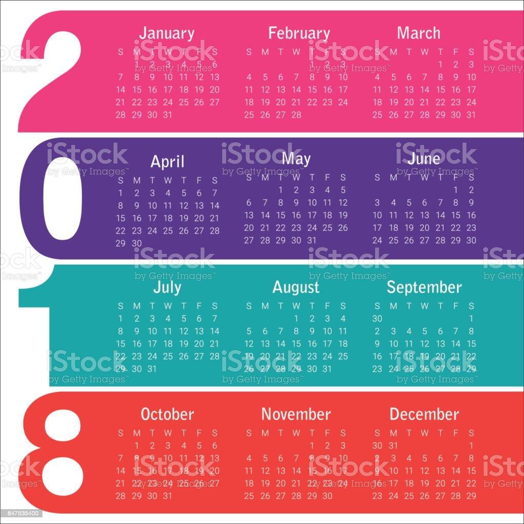 year 2018 calendar vector design template royalty free year 2018 calendar vector design template stock