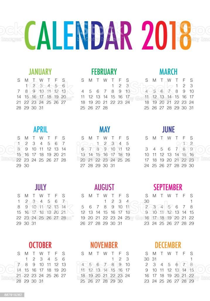 year 2018 calendar vector design template stock vector art 887915262 istock. Black Bedroom Furniture Sets. Home Design Ideas