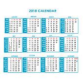 year 2018 calendar vector design