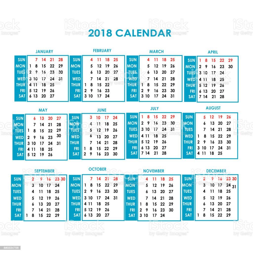 year 2018 calendar vector design vector art illustration