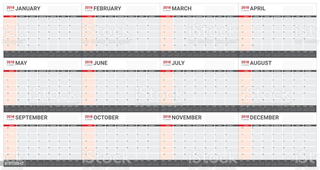 year 2018 calendar vector illustration royalty free year 2018 calendar vector illustration stock vector art