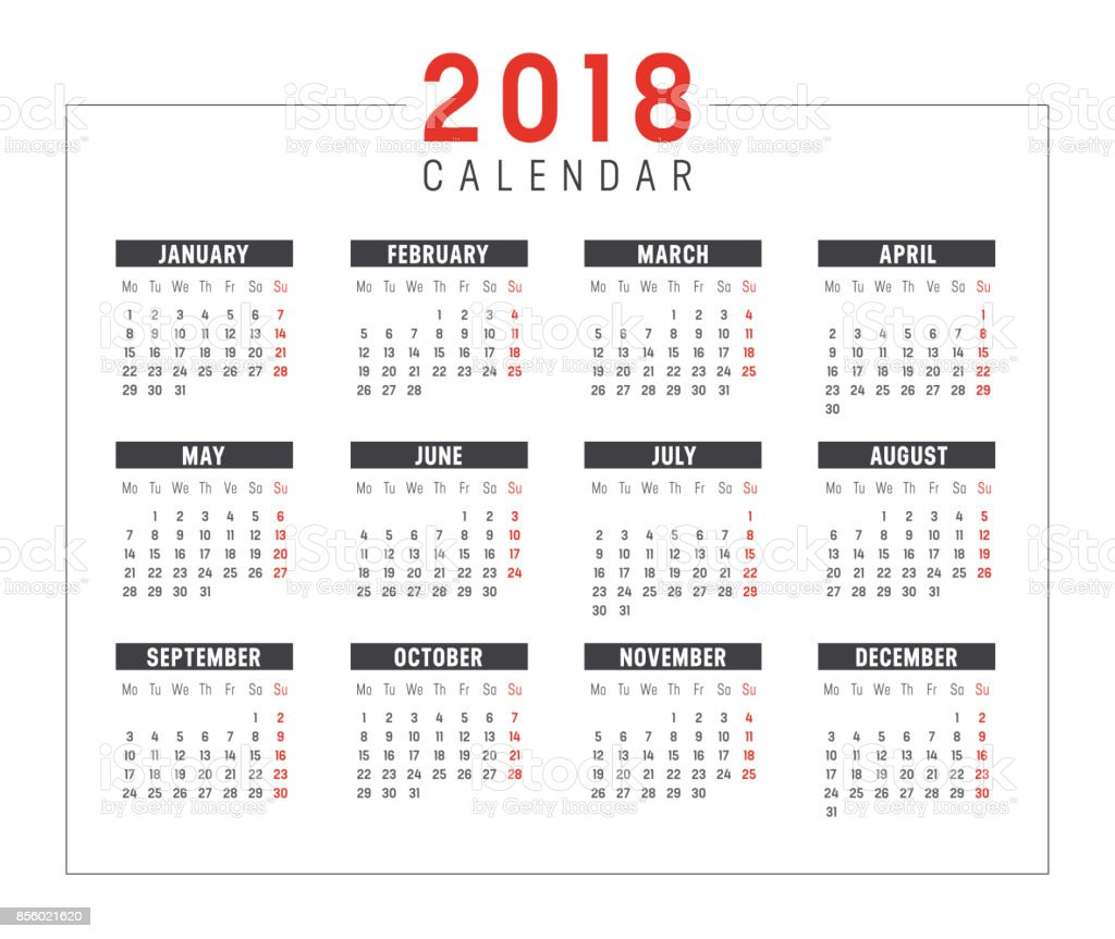 year 2018 calendar vector template royalty free year 2018 calendar vector template stock vector art