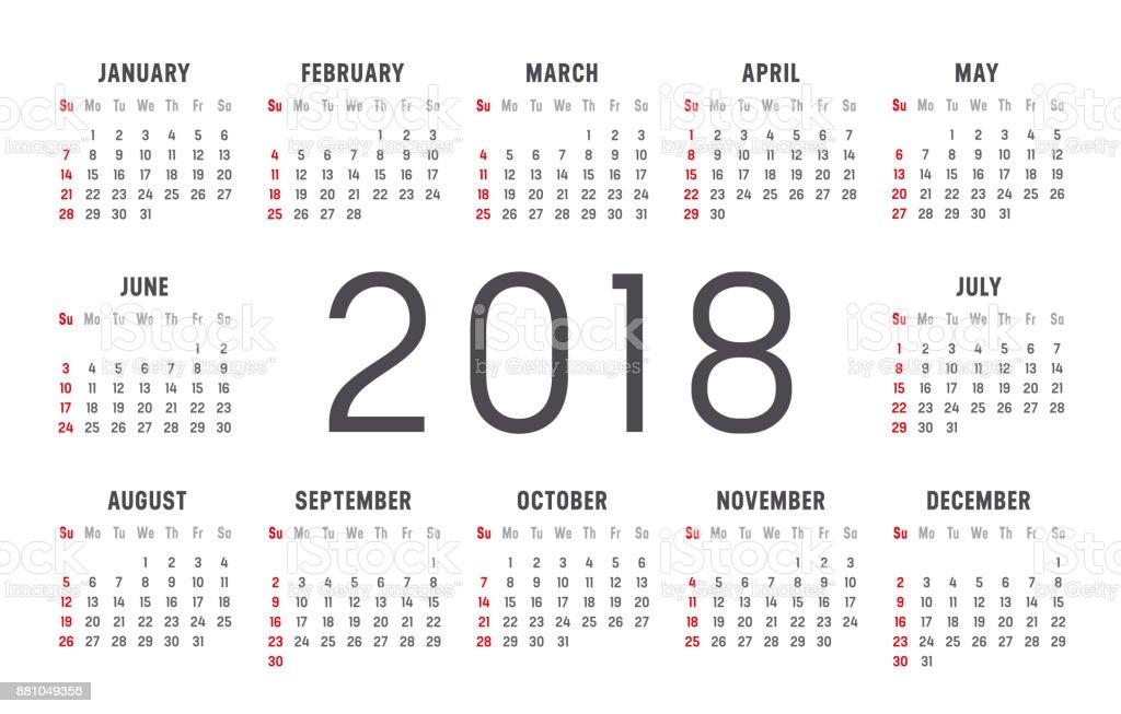 Plantilla De Vector De Calendario Año 2018 - Arte vectorial de stock ...