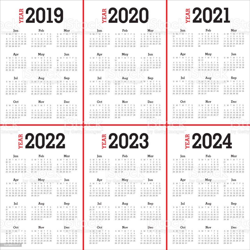 Year 2019 2020 2021 2022 2023 2024 calendar vector design template -  Illustration .