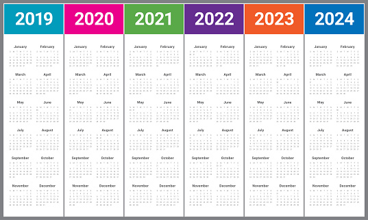Year 2019 2020 2021 2022 2023 2024 Calendar Vector Design ...