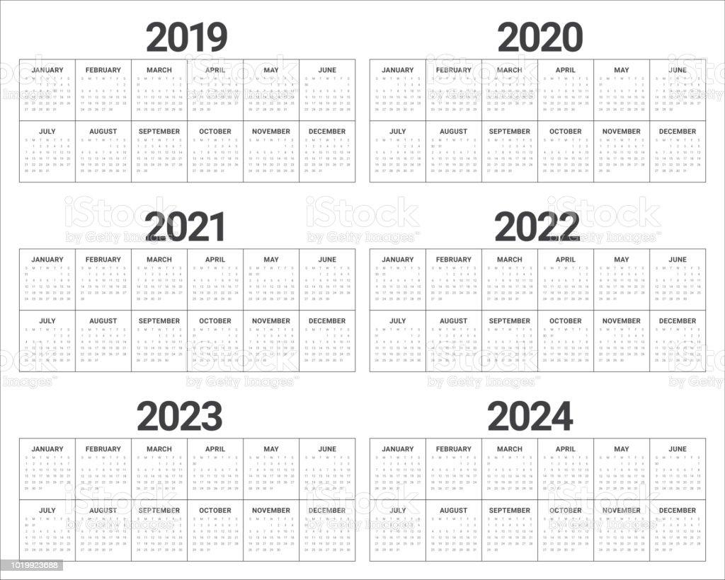 Year 2019 2020 2021 2022 2023 2024 Calendar Vector Design ...