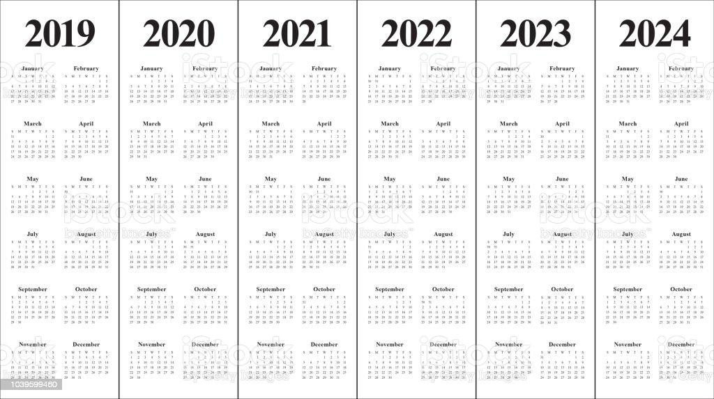 year 2019 2020 2021 2022 2023 2024 calendar vector design