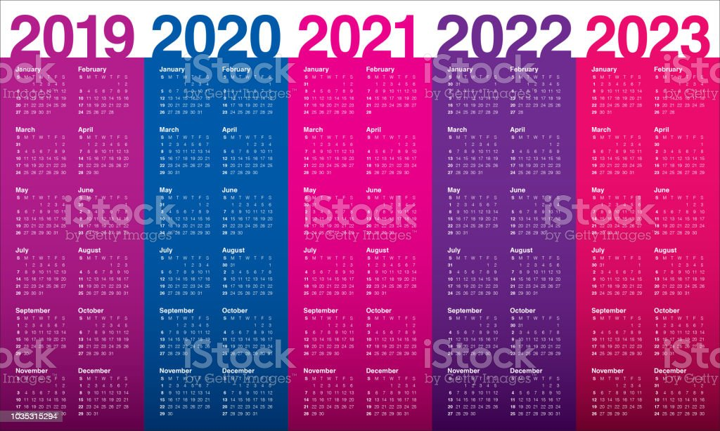 year 2019 2020 2021 2022 2023 calendar vector design template royalty free year 2019 2020