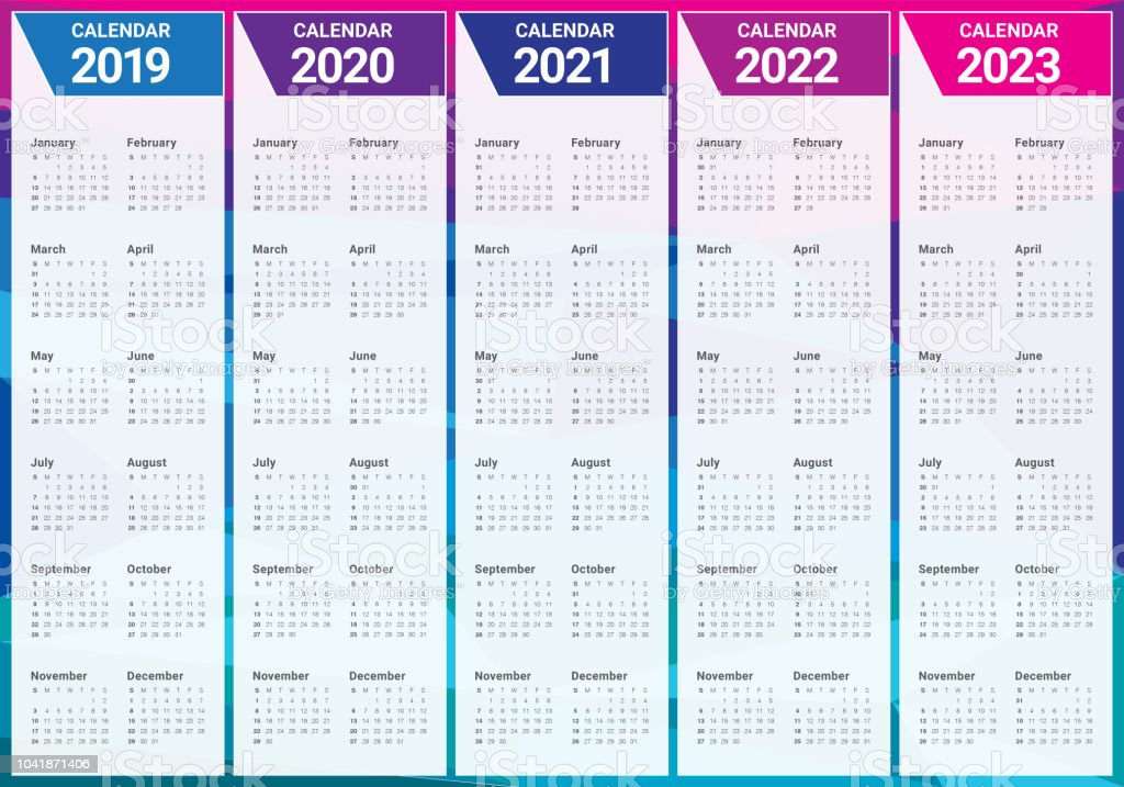 Calendrier 2020 2021.Year 2019 2020 2021 2022 2023 Calendar Vector Design