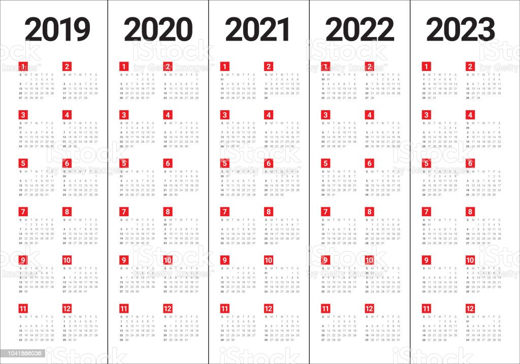 2023 And 2022 Calendar.Year 2019 2020 2021 2022 2023 Calendar Vector Design Template Stock Illustration Download Image Now Istock