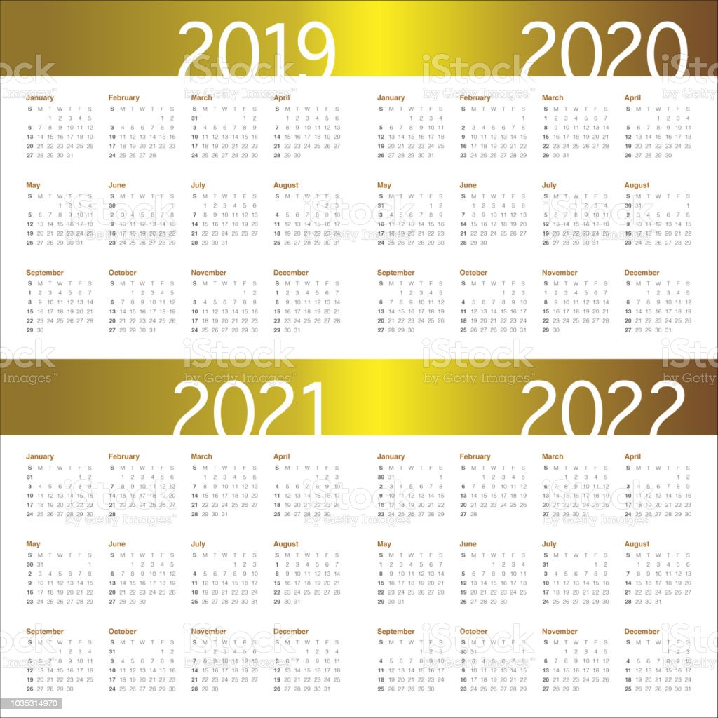 Year 2019 2020 2021 2022 Calendar Vector Design Template Stock