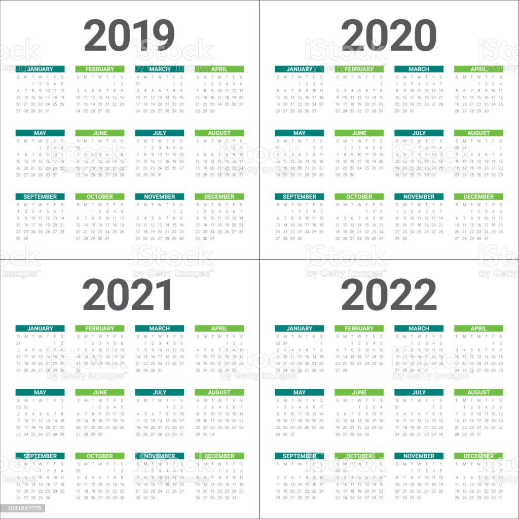 Year 2019 2020 2021 2022 Calendar Vector Design Template ...