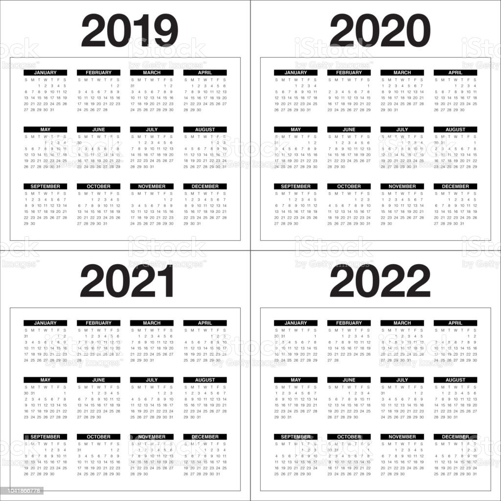 Year 2019 2020 2021 2022 Calendar Vector Design Template ...
