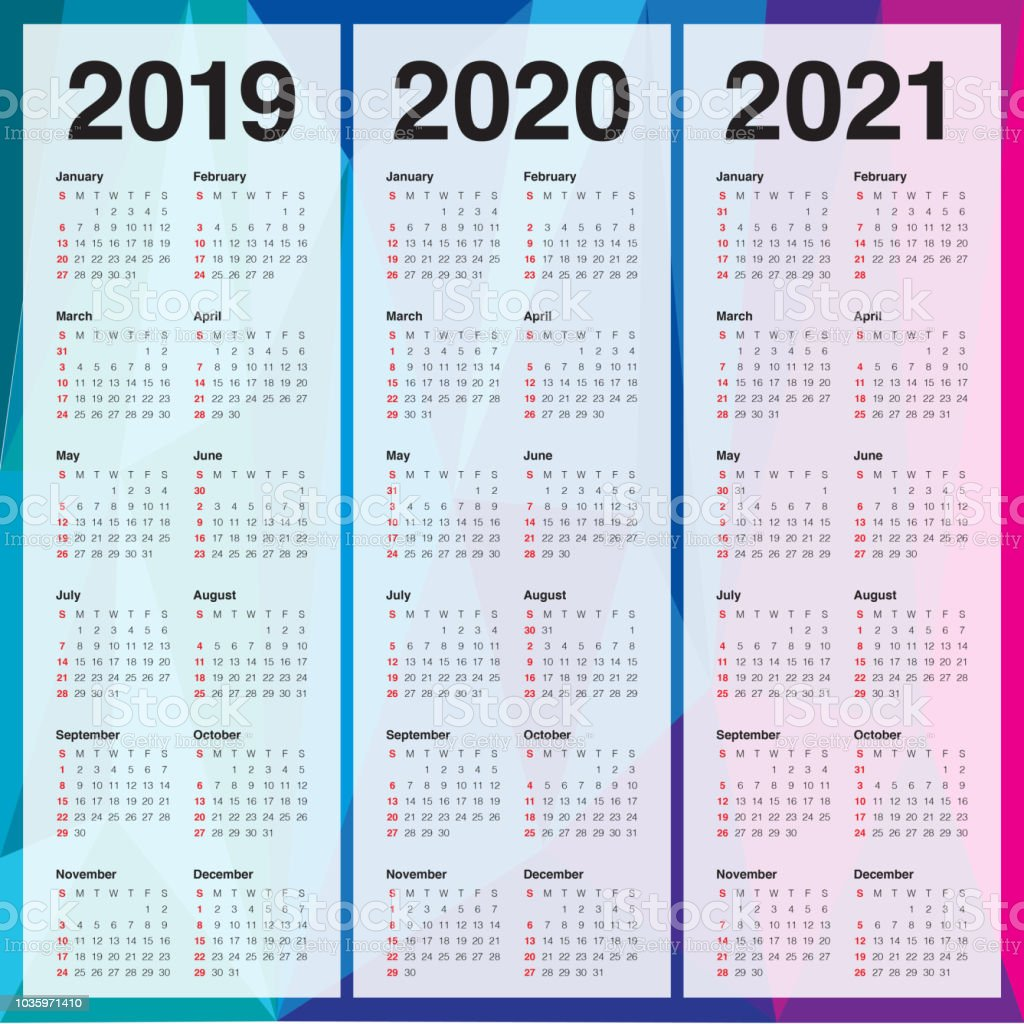 Year 2019 2020 2021 Calendar Vector Design Template Stock ...