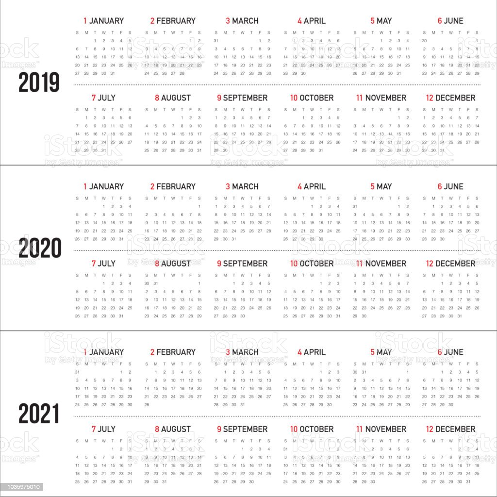 year 2019 2020 2021 calendar vector design template royalty free year 2019 2020 2021 calendar