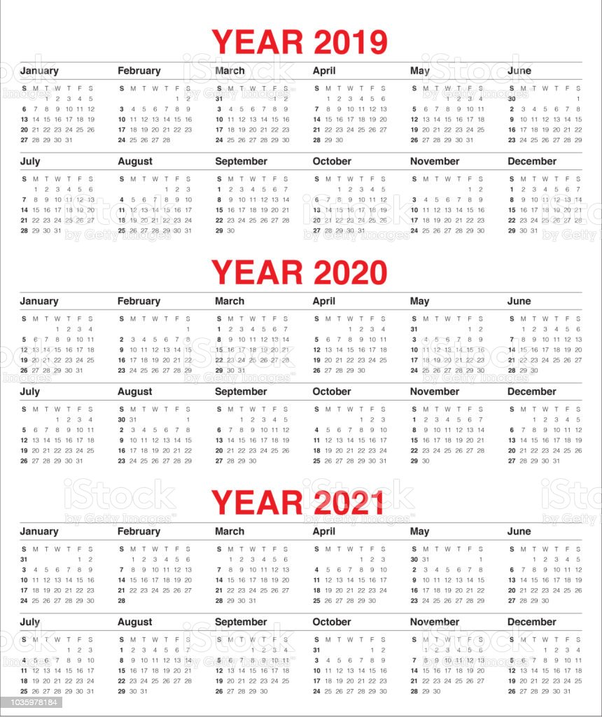 Year 2019 2020 2021 Calendar Vector Design Template Stock ...