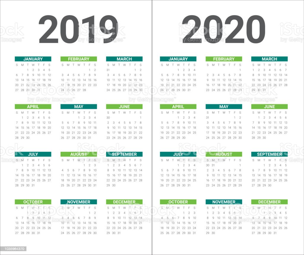 Year 2019 2020 calendar vector design template vector art illustration