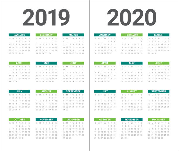 Year 2019 2020 calendar vector design template Year 2019 2020 calendar vector design template, simple and clean design 2020 stock illustrations