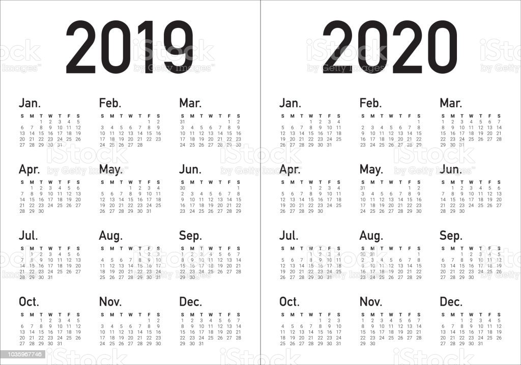 year 2019 2020 calendar vector design template royalty free year 2019 2020 calendar vector design