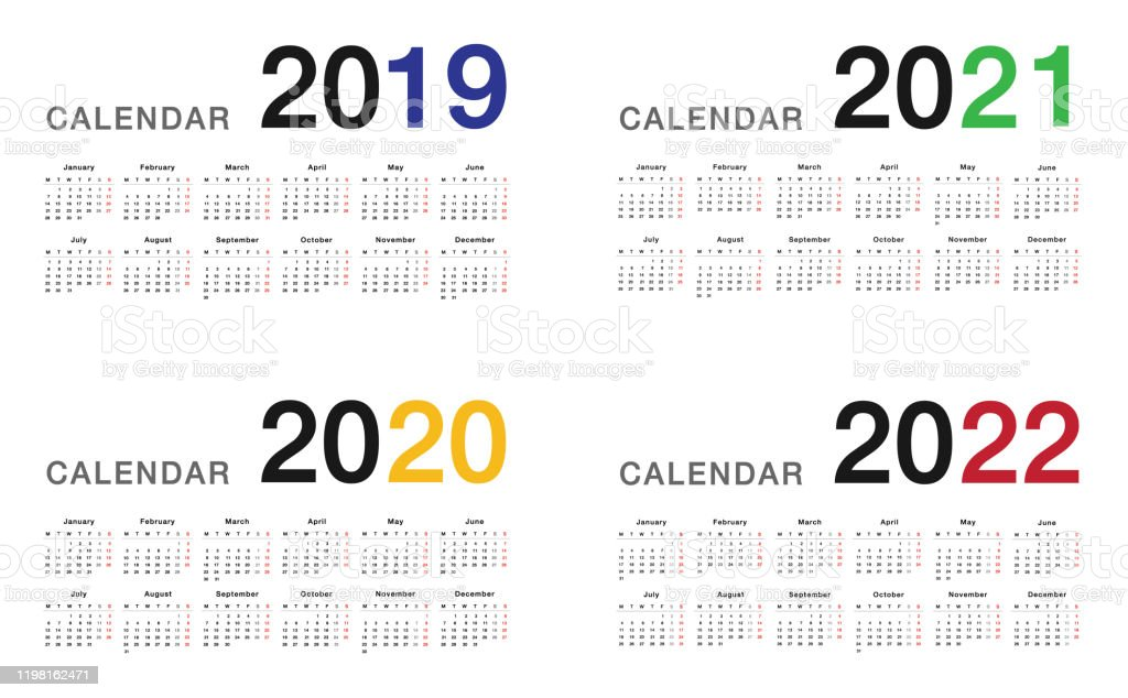 Calendar Year 2022.Year 2019 And Year 2020 And Year 2021 And Year 2022 Calendar Vector Design Template Simple And Clean Design For Organization And Business Stock Illustration Download Image Now Istock