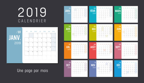 year 2019 calendar in french - calendars templates stock illustrations