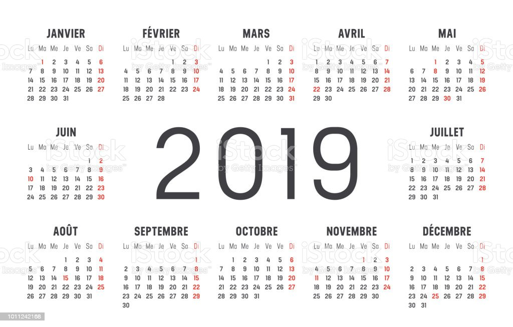 year 2019 calendar in french royalty free year 2019 calendar in french stock vector art