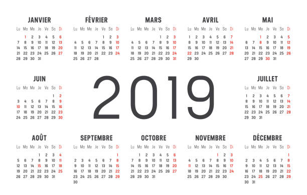 Year 2019 calendar in French Year 2019 minimalist black and red calendar, in French language, on white background. french language stock illustrations