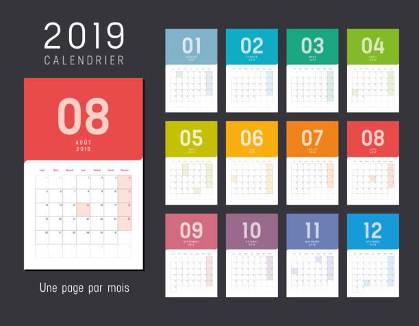 kalender für das jahr 2019 auf französisch - monatskalender stock-grafiken, -clipart, -cartoons und -symbole