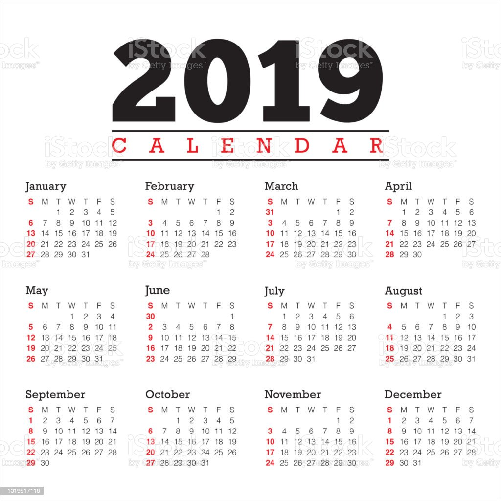 year 2019 calendar vector design template royalty free year 2019 calendar vector design template stock