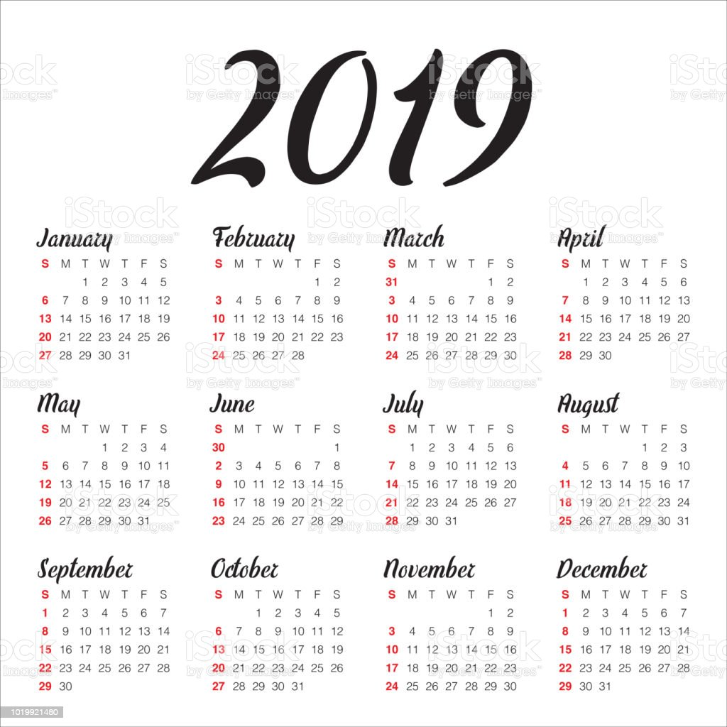Calendar For The Year 2019 Year 2019 Calendar Vector Design Template Stock Illustration