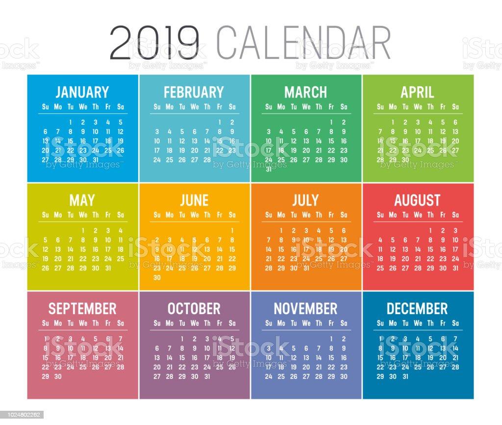 Modèle de vecteur pour le calendrier année 2019 - Illustration vectorielle