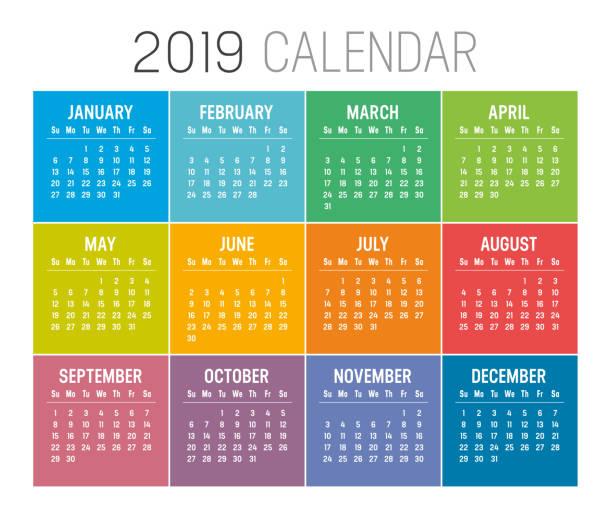 kalendervorlage vektor jahr 2019 - monatskalender stock-grafiken, -clipart, -cartoons und -symbole