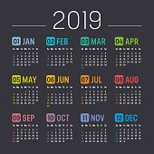 year 2019 calendar vector template