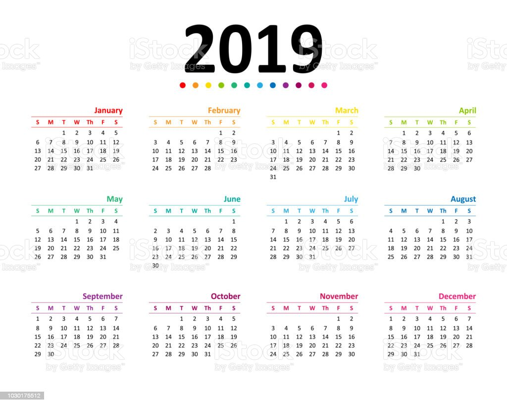 Year 2019 Calendar Wallpaper Stock Vector Art More Images Of 2019