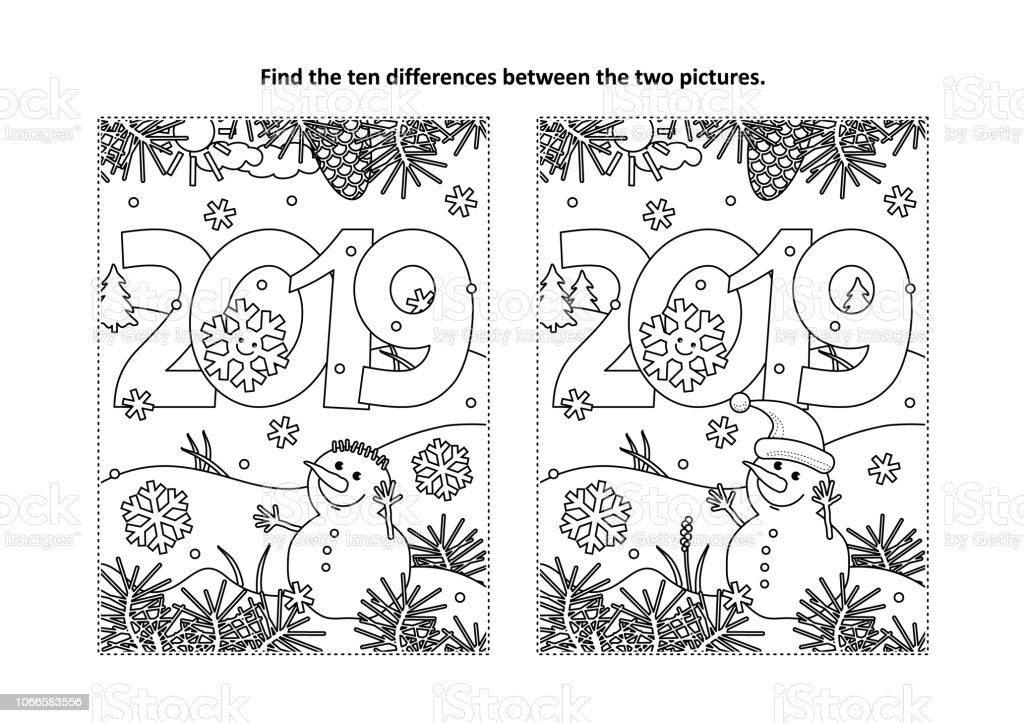 Year 2019 Find The Differences Visual Puzzle And Coloring