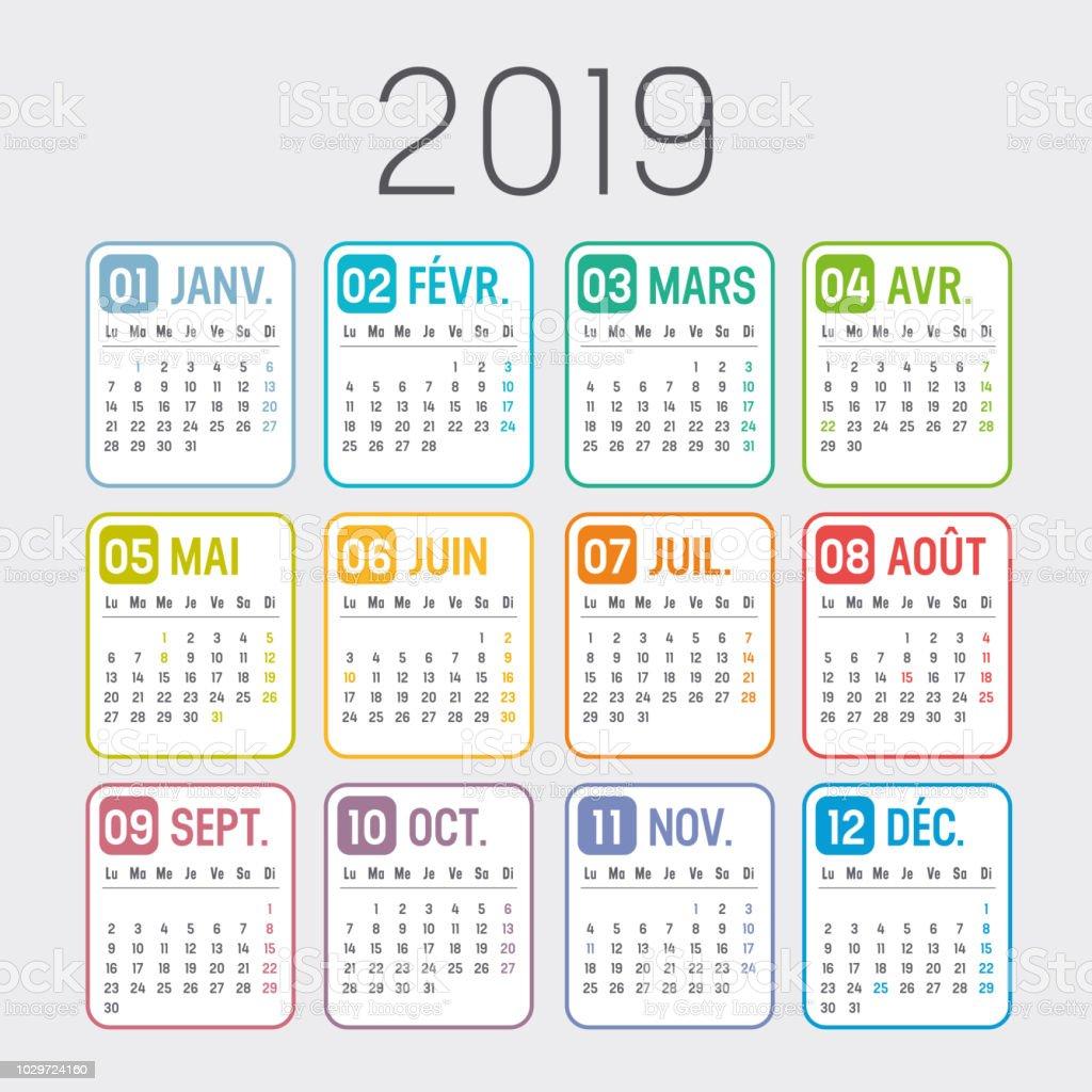 Calendario Frances.Ilustracion De Calendario Frances Ano 2019 Y Mas Vectores